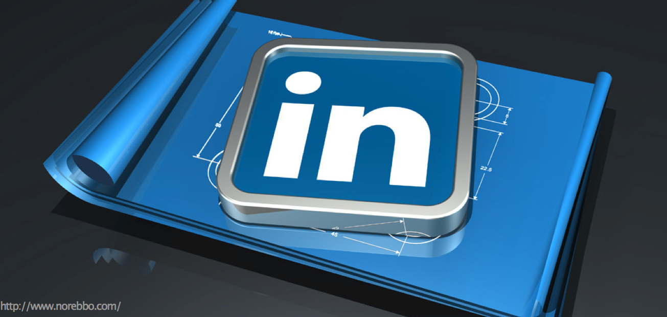 A sleek picture of the LinkedIn logo on a blueprint