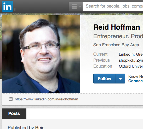 A screenshot of Reid Hoffman's LinkedIn Profile