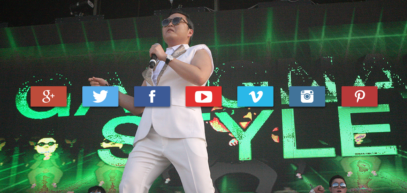 Psy dancing on stage to Gangnam Style with social media icons overlayed. Represents the ambition to make a viral video sensation