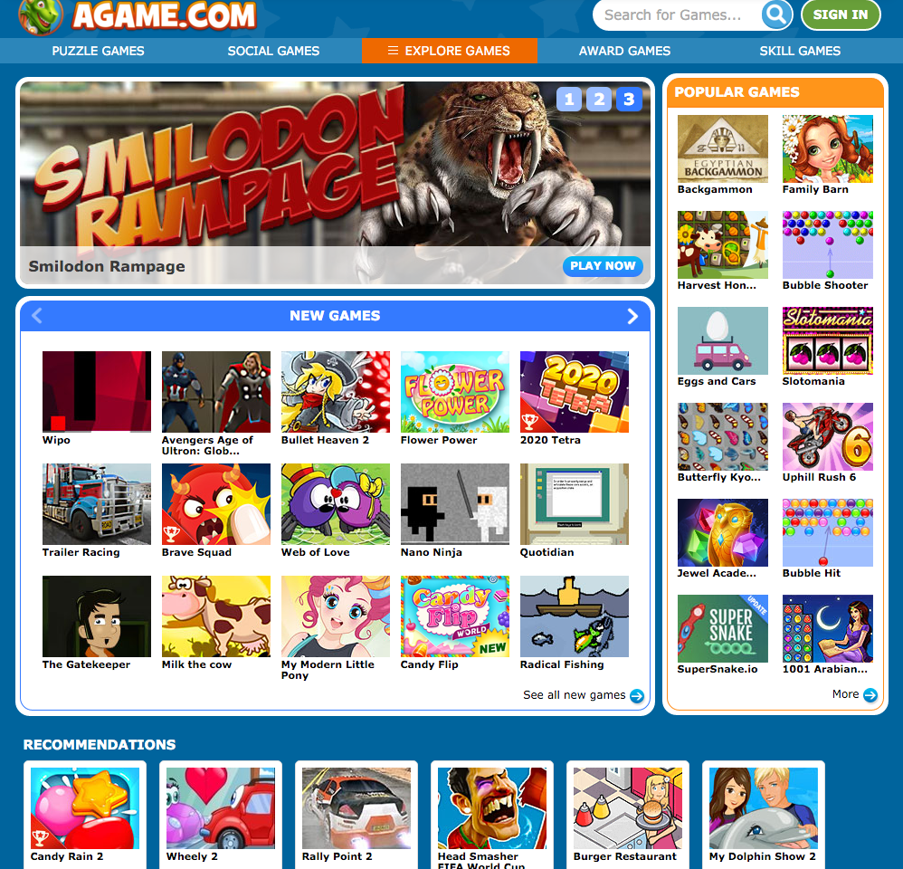 The front page of Agame.com shows a wide variety of mini games to use for YouTube Videos