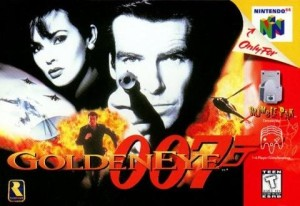The cover art for GoldenEye 007 N64, showing Pierce Brosnand, a bunch of explosion, and Pierce running to escape a wild blast