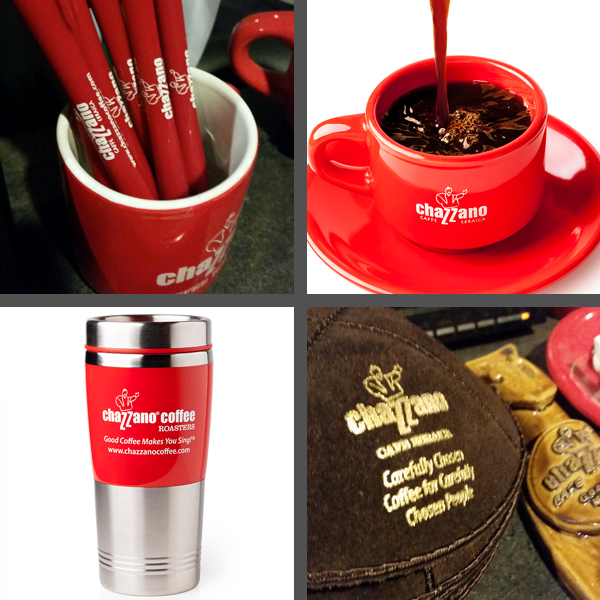 Branded items from Chazzano Coffee Roasters: pens, mugs, cups, and even yarmulkes