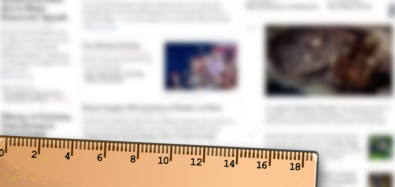 A ruler overlaying a blurred image of an online news publication
