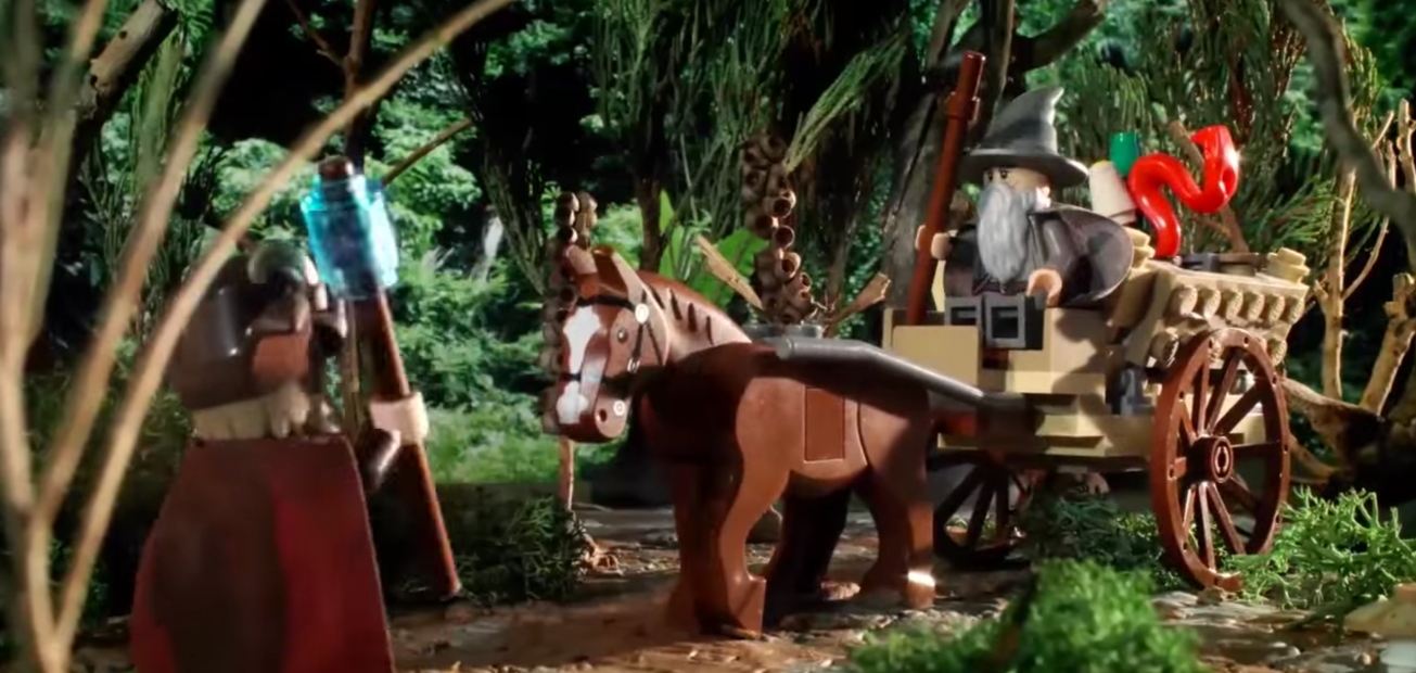 "LEGO Gandalf in BrotherhoodWorkshop's video, ""LEGO® The Hobbit™ - Middle-earth Motors"""
