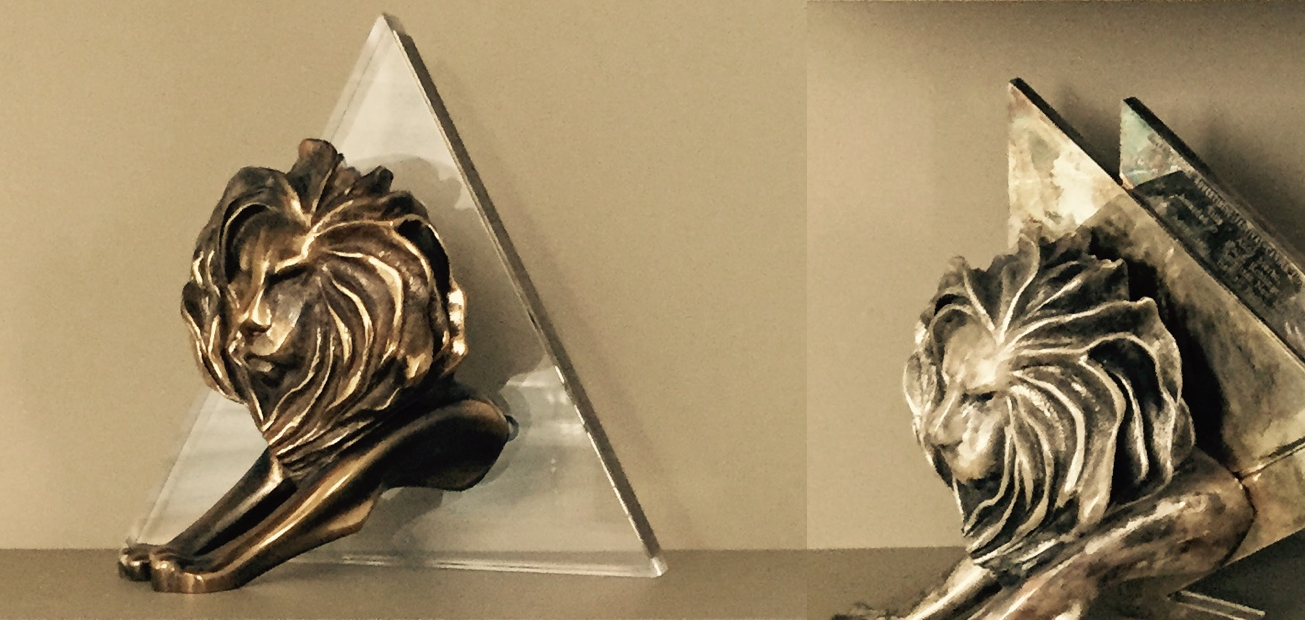 The trophy from the Cannes Lions advertising festival. Winners are often given this prize for being able to deftly bridge the gap between organic and branded content.