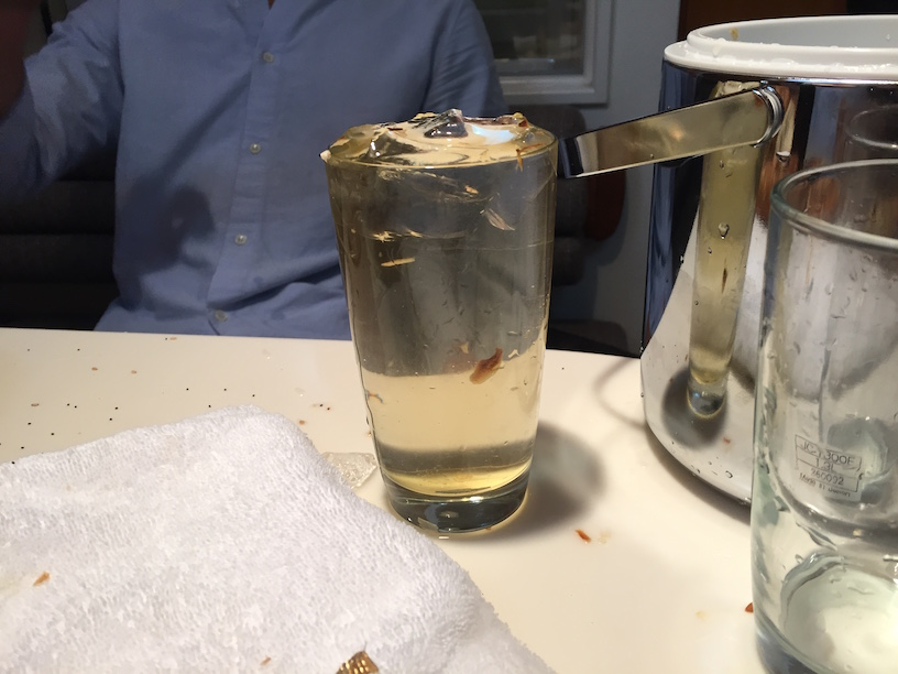 The water that the bagel was soaking in. Michael Has to drink it.