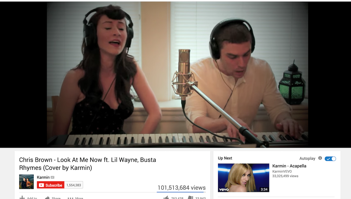 "A screen shot of Karmin's cover of ""Look At Me Now"" with 101.5 million views"