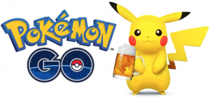 The Pokémon Go logo along with Pikachu holding a frothy beer