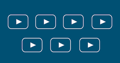 Seven play buttons over a blue background