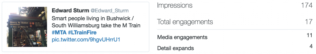 Twitter stats for my second post. Impressions are 174. Engagements are 17.