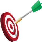 A bullseye with an arrow in the center of it