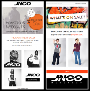 A promo email image from JNCO Jeans.