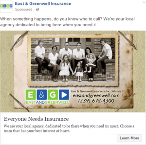 A Facebook timeline ad for East & Greenwell Insurance