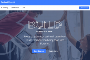 The home page for Facebook Blueprint