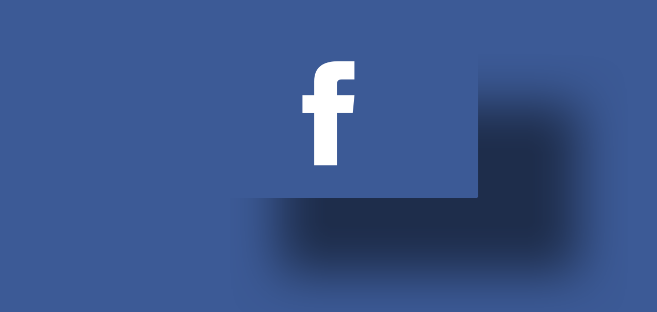 The Facebook logo with a big shadow hovering underneath