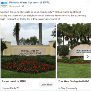 A Facebook ad carousel unit for a water systems service company
