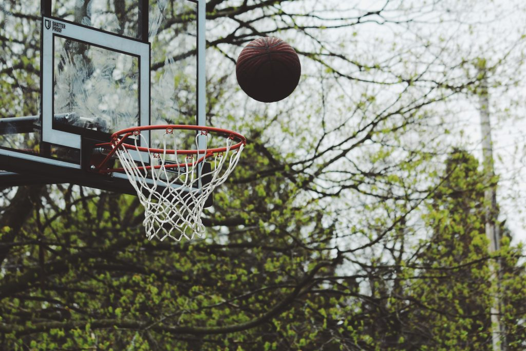 A basketball going in a hoop - represents targeted local traffic.