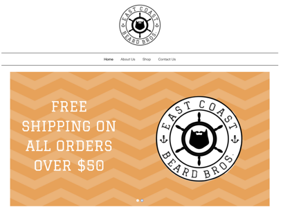 The home page for East Coast Beard Bros. A great example of local SEO.