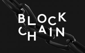"A black chain with the words, ""block chain."""