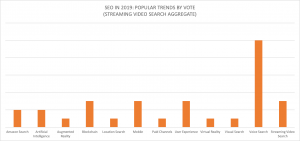 A column graph showing the consensus for most popular SEO trends in 2019. Different from the first pie chart because video is aggregated into 'Streaming Video Search.'