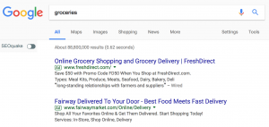 "Paid ads in Google Search for the term, ""groceries."""