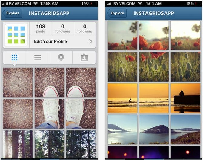 An Instagram grid collage mobile application.