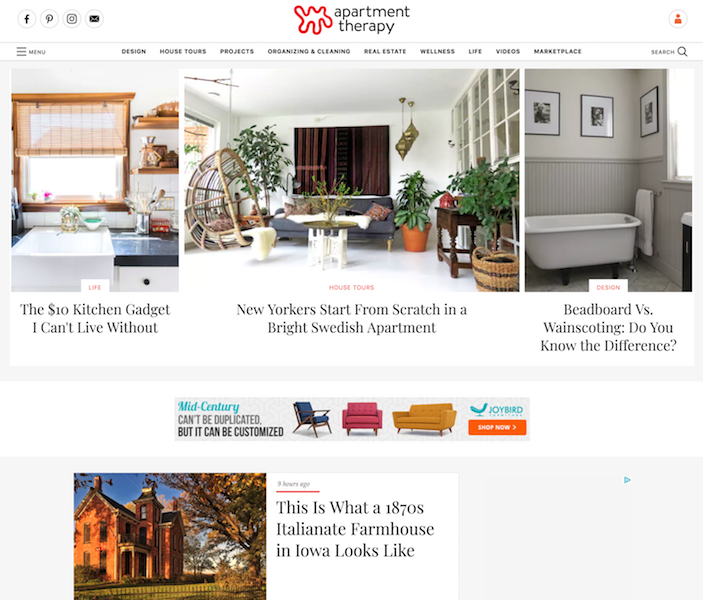 The homepage for the Apartment Therapy interior design blog.